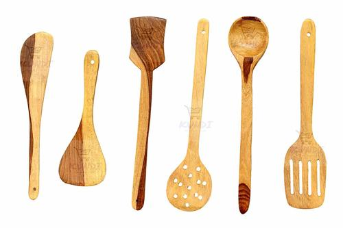 Handmade Wooden Serving and Cooking Spoon Kitchen Utensil - Set of 6