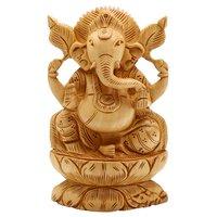 Wooden Ganesh stetu Idol 15 cm