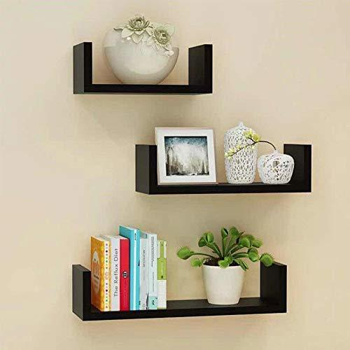 Floating Shelves Set of 3 with Modern U Shape and Durable Design, Simple Hanging Black (Black)