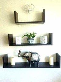 Floating Shelves Set of 3 with Modern U Shape and Durable Design, Simple Hanging Black (Black)
