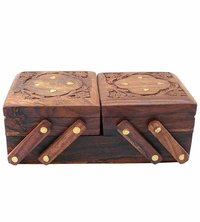 Wooden Handcrafted Beautiful Jewelry Box flip Flap Flower Design Women's Gift 8 Inches