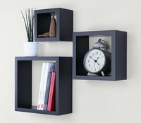 Square Cube Floating Wall Shelf, Wall Decor for Living Room Bedroom Hotel Set of 3, Black