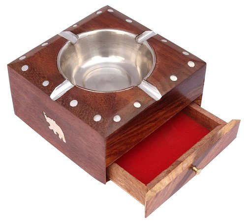 Handmade Wooden Ashtray with Cigarette Holder 4 Slots for Home Office Car Gifts