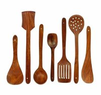 Wooden Spoon Set of 7 | 2 Frying, 1 Serving, 1 Spatula, 1 Chapati Spoon, 1 Desert, 1 Rice