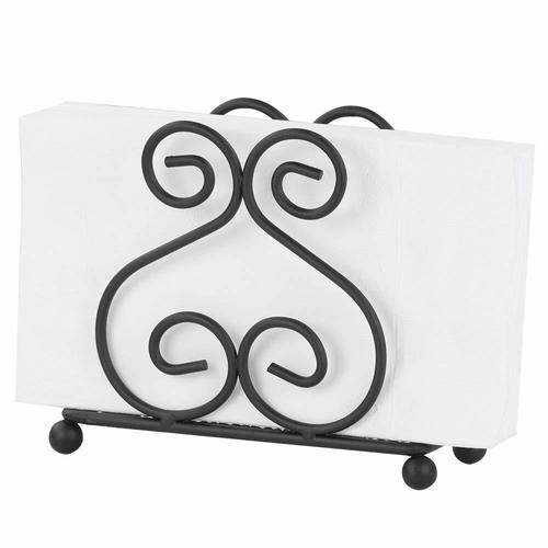 Wooden and Wrought Iron Tissue and Napkin Holder for Dining Table