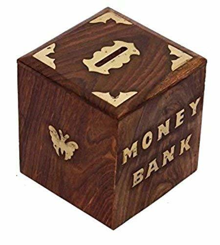 Wooden Money Bank -Piggy Bank Decor Coin Box for Kids and Adults