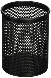 Black Single Round Mesh Metal Pen Pencil Holder Table Desk Organizer for Home Office
