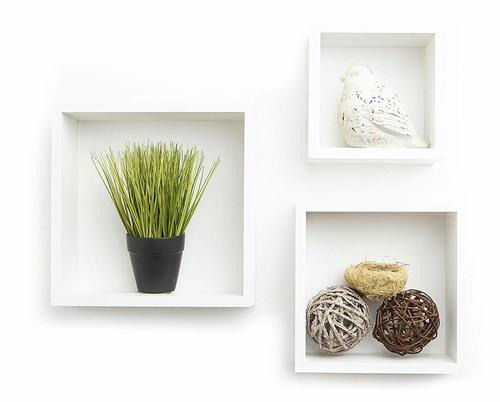 Cube Floating Wall Shelf, Set of 3, White