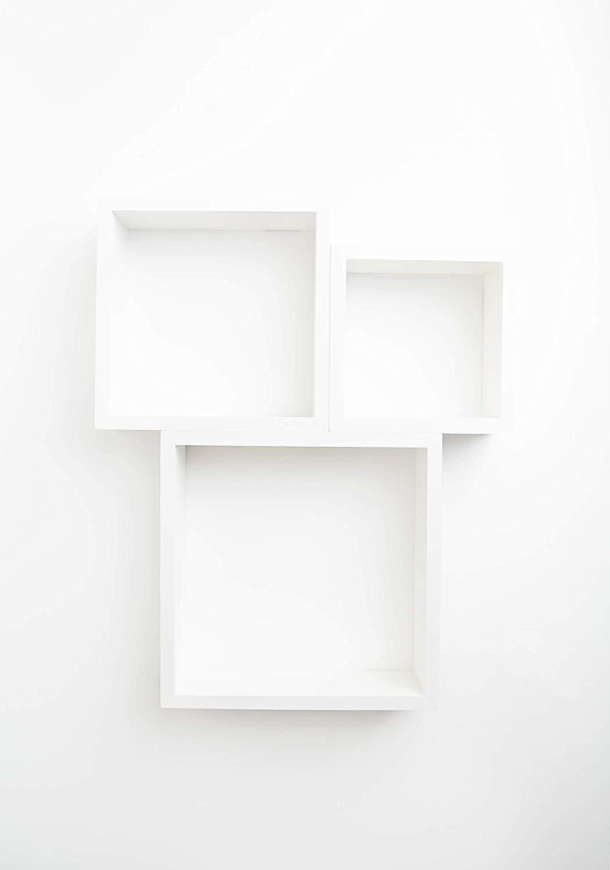 Cube Floating Wall Shelf, Set of 3, White