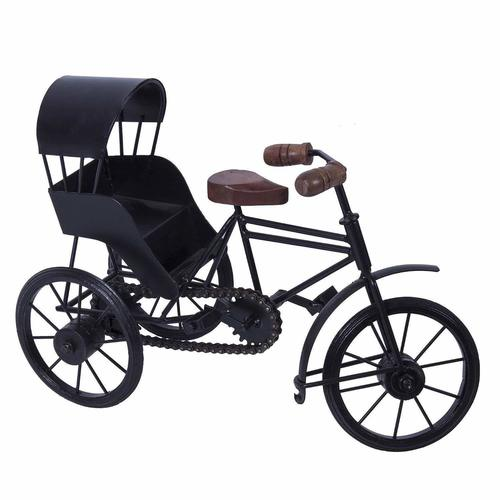 Wooden and Wrought Iron Miniature Rickshaw, Black
