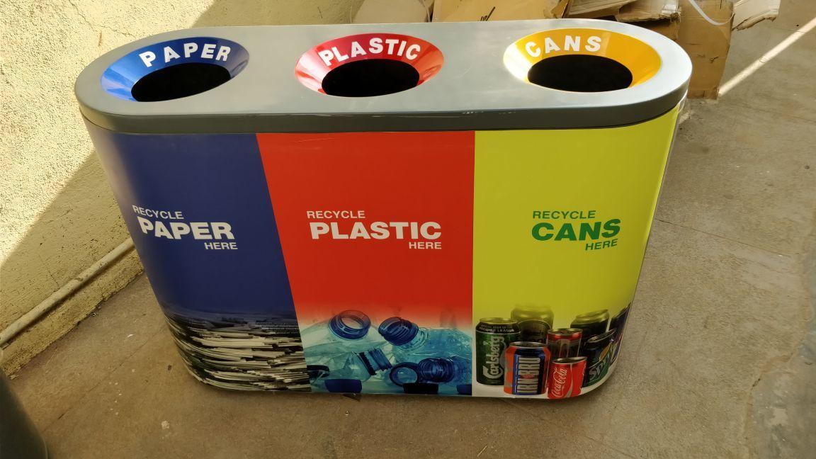 FRP 3 in 1 Recycle Open Bin with FRP Liners