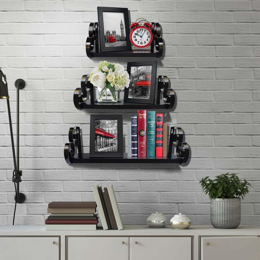 Wooden Wall Shelf with 3 Shelves Wall Decor (Brown)