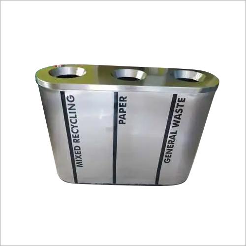 S/Steel 3 in 1 Recycle Open Bin