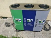 S/Steel 3 in 1 Recycle Open Bin
