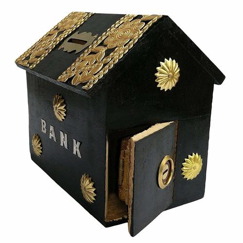 Handicrafted Wooden Money Bank Home Style Black Kids Piggy Coin Box Gifts