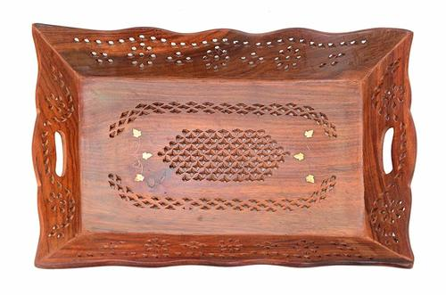 Beautiful Rectangle Wooden Tray with Sheesham Touch/Serving Tray/Decorative Sheesham Tray