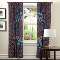 Indian Mandala Brown Ombre Hippie Bohemian Curtain