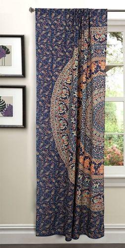Indian Mandala Blue Ombre Hippie Bohemian Curtain