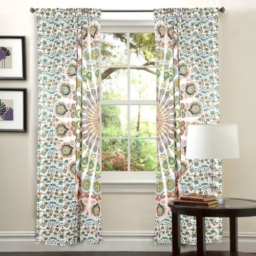 Indian Mandala White Peacock Ombre Hippie Bohemian Curtain