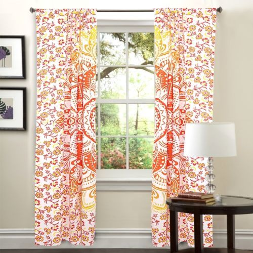 Indian Mandala Flower Ombre Hippie Bohemian Curtain