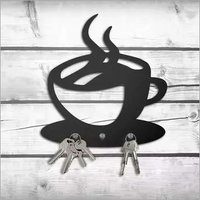Coffee Cup Shape Metal Key Holder, Steel Key Rack 15x13 Cm