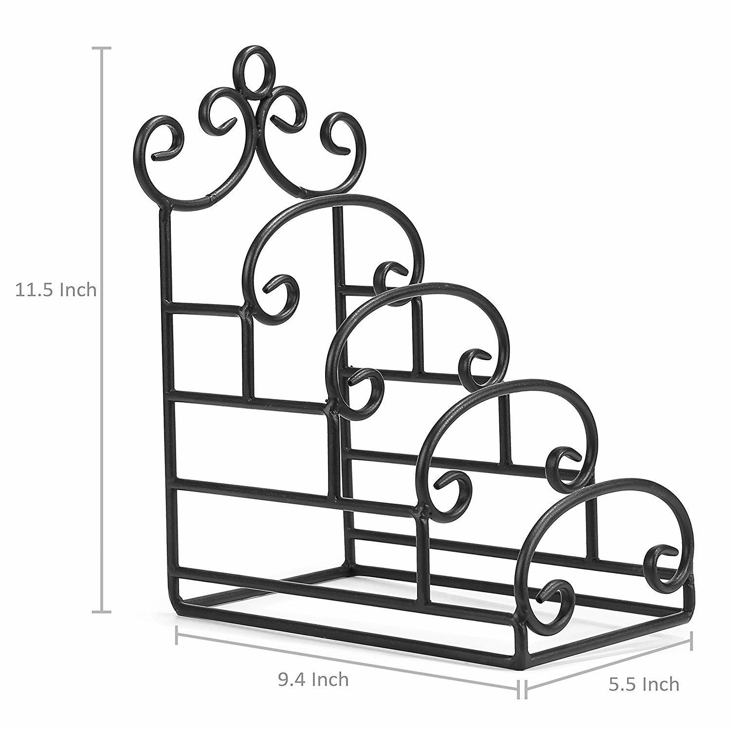 4-Tier Vintage-Style Iron Plate Display Stand Dish Drying Rack, Kitchen and Dining, Dish, Plate and Crockery Holder