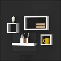 Floating Wall Shelf for Living Room | Set of 4 Wall Shelves Wall Decor | Home Decor | White