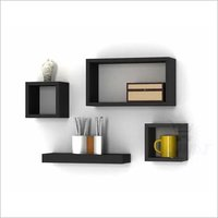 Set of 4 Black Wooden Wall Mounted Wall Decor Floating Cube Shelving Storage Display Wall Shelves
