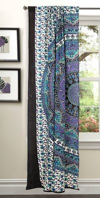 Indian Mandala White Elephant Ombre Hippie Bohemian Curtain