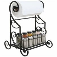Black Kitchen & Bathroom Paper Towel Holder Stand/Counter Top Shelf Rack & Towel Bar
