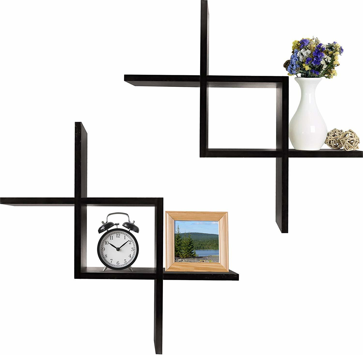 Cross Design Beautiful Intersecting Wall Mounted Floating Shelves Set of 2