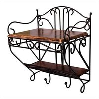 Wrought Iron & Wood Set Top Box Wall Stand Remote Stand | Brown