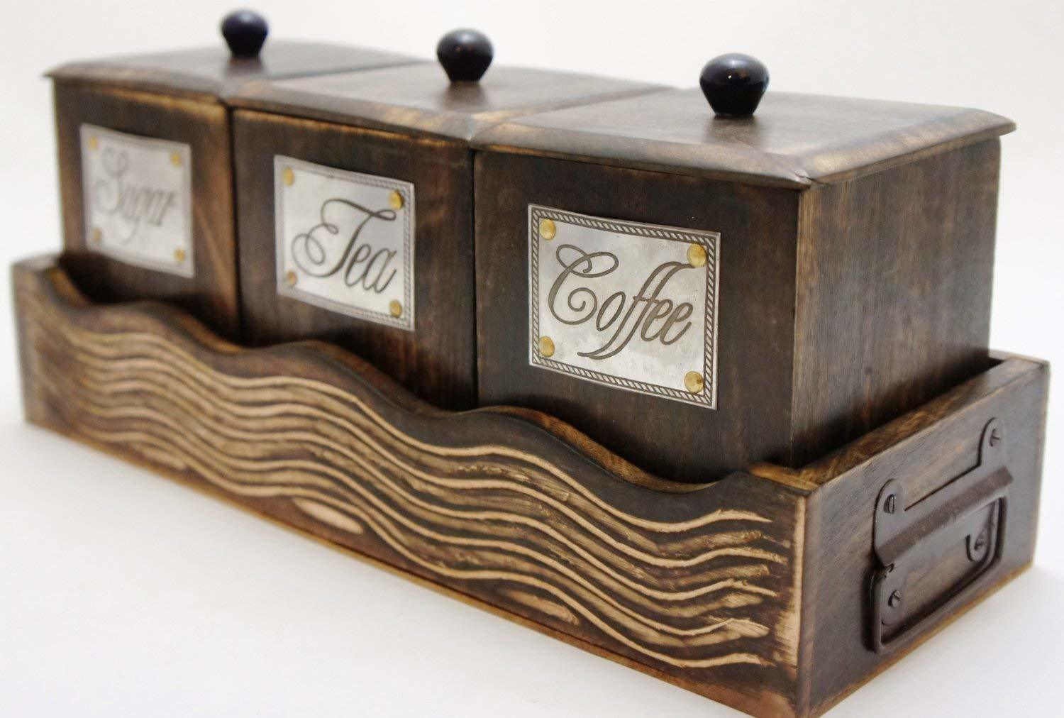 Wooden Container Set, One Set with Three Container for Coffee,Tea Sugar with Lid Brown Color