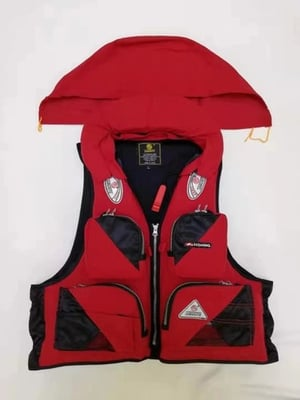 life jacket with collar, with hat, removable.