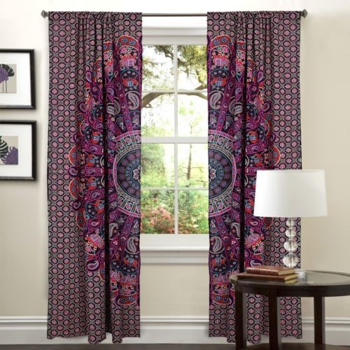Indian Mandala Purple Horse Ghoomar Ombre Hippie Bohemian Curtain