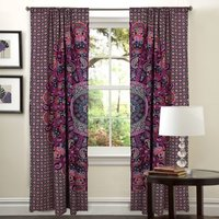 Indian Mandala Purple Horse Ghoomar Ombre Hippie Bohemian Curtain
