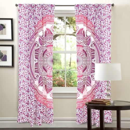 Indian Mandala Pink Trishul Ombre Hippie Bohemian Curtain