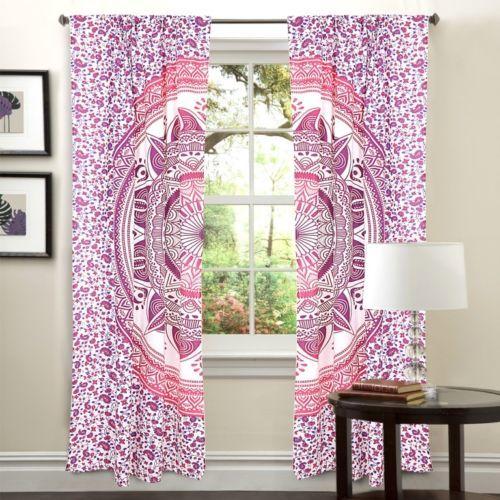 Indian Mandala Pink Trishul Ombre Hippie Bohemian Curtain