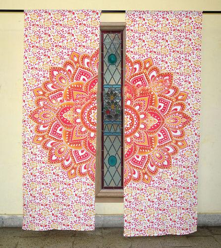 Indian Mandala Yellow Lotus Ombre Hippie Bohemian Curtain