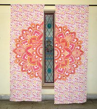 Indian Mandala Yellow Lotus Ombre Hippie Bohemian Curtain