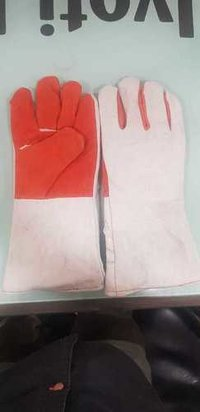 Heavy Leather Red Grey Gloves