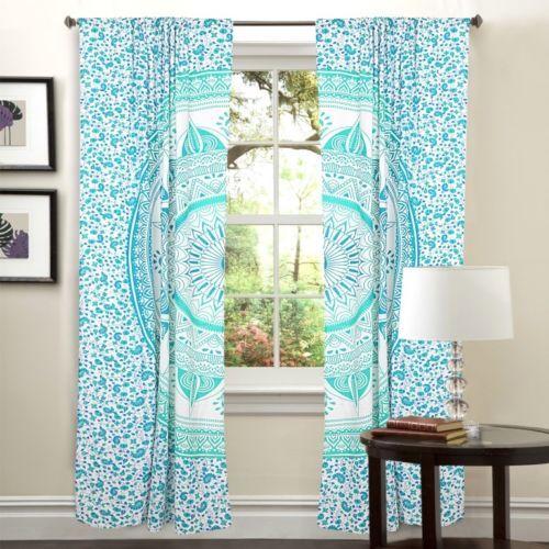 Indian Mandala Green Trishul Ombre Hippie Bohemian Curtain