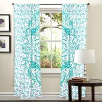 Indian Mandala Green Flower Ombre Hippie Bohemian Curtain