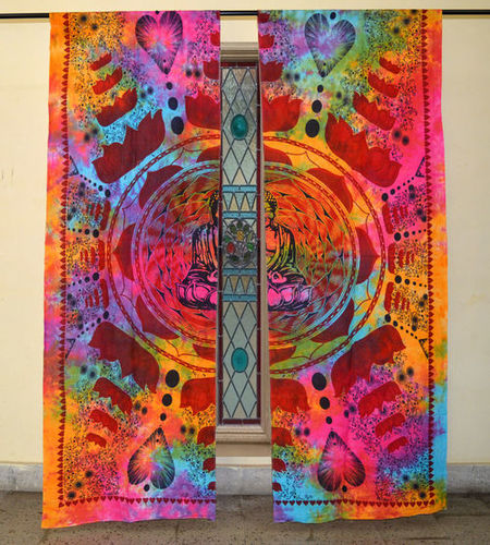 Indian Mandala Multi Lotus Buddha Ombre Hippie Bohemian Curtain