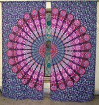 Indian Mandala Purple Peacock Ombre Hippie Bohemian Curtain