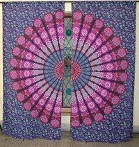 Indian Mandala Purple Peacock Ombre Hippie Bohemian Curtain