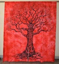 Indian Mandala Red Sukaped Ombre Hippie Bohemian Curtain