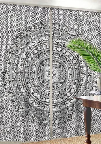 Indian Mandala Black Ombre Hippie Bohemian Curtain