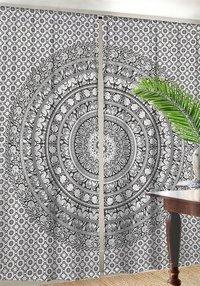 Indian Mandala Black Ombre Hippie Bohemian Curtain