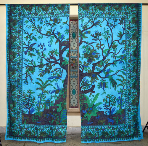 Indian Mandala Turquoise Tree of Life Ombre Hippie Bohemian Curtain